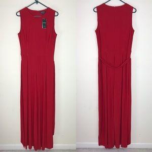 Ralph Lauren Jumpsuit Red Sleeveless Tie Waist 14